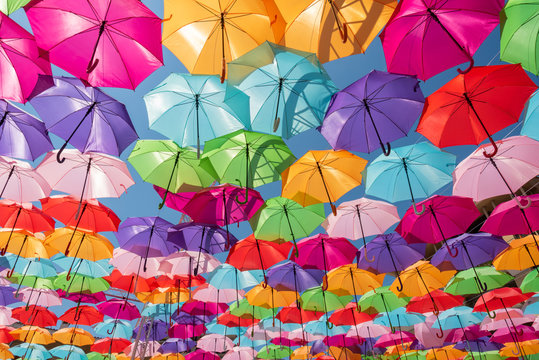 Street decoration colorful umbrellas background