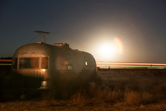 Travel trailer at sunrise