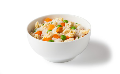 white bowl with egg fried rice, rice, vegetable and egg isolated on white background.
