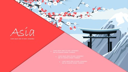 Wall Mural - Flat Travel To Japan Composition