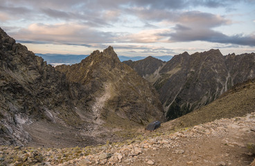 Mountains and Cottage under Rysy Mountain as Seen from Sedlo Vaha, High Tatras, Slovakia