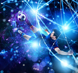 Football scene with soccer player in front of a futuristic digital background