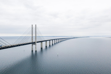 Aerial view of the bridge between Denmark and Sweden, Oresundsbron. Oresund Bridge close up view.