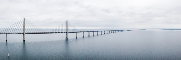 Printed kitchen splashbacks Bridges Aerial view of the bridge between Denmark and Sweden, Oresundsbron. Oresund Bridge close up view.