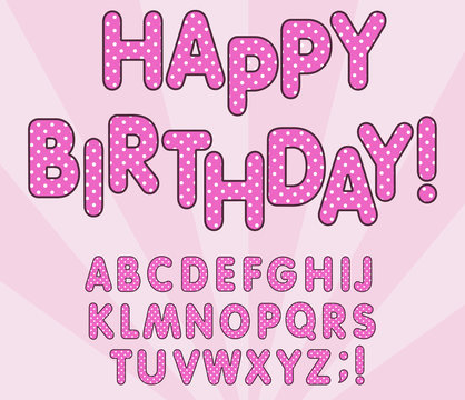 Polka dots 3D english alphabet letters set. LOL girly doll, Happy birthday banner, surprise style design. Vector