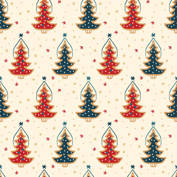 Seamless pattern. Hand drawn snow Christmas tree. Star fir forest snowflakes background. Traditional winter holiday all over print. Festive yule damask gift wrap paper illustration. Vector swatch