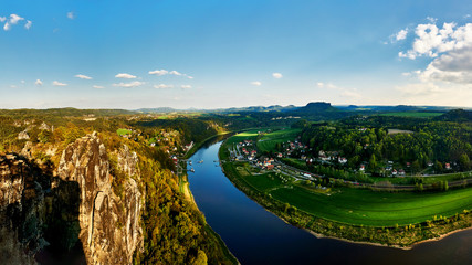 rocky countryside in saxony Bastei and Elbe