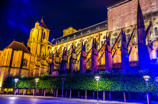 Night view of Cathedral Saint-Etienne, Bourges,  France.