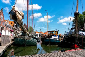 Sailing ships by the Hoofdtooren in Hoorn, Netherlands