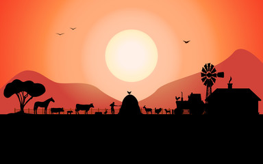 Vector farm silhouette with a ranch animals
