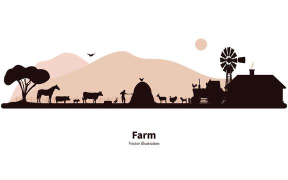 Silhouette farming and animal husbandry