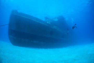 Acrylic Prints Shipwreck A diver explores the USS Kittiwake, one of the best-known wreck dives in the Caribbean Sea. The 251-foot long ship was sunk off the coast of Grand Cayman in 2011 in order to create an artificial reef.