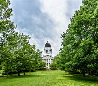 Maine State Capitol Building in Augusta Maine on a Blue Sunny Day