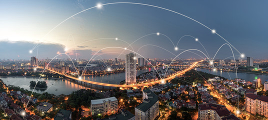 Smart city and wireless communication network concept. Digital network connection lines Wall mural