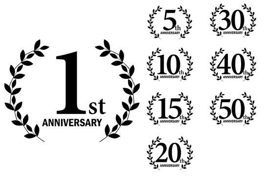 月桂樹をモチーフにしたアニバーサリーのロゴのセット_1周年~50周年・月桂冠  Anniversary