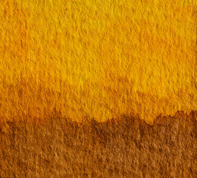 Yellow and brown watercolor hand painting art background. Earth tone concept for natural colors of ground or soil.
