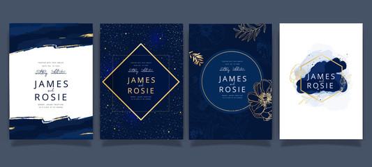 Navy and indigo Wedding Invitation, floral invite thank you, rsvp modern card Design in white flower with leaf greenery  branches decorative Vector elegant rustic template