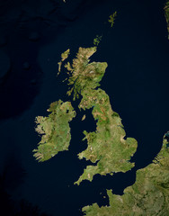 Ingelijste posters Noord Europa High resolution Satellite image of UK & Ireland (Isolated imagery of North Europe. Elements of this image furnished by NASA)