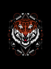 Wild tiger head logo illustration with sacred geometry pattern as the background