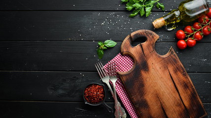 The background of cooking. Top view. Free space for your text.