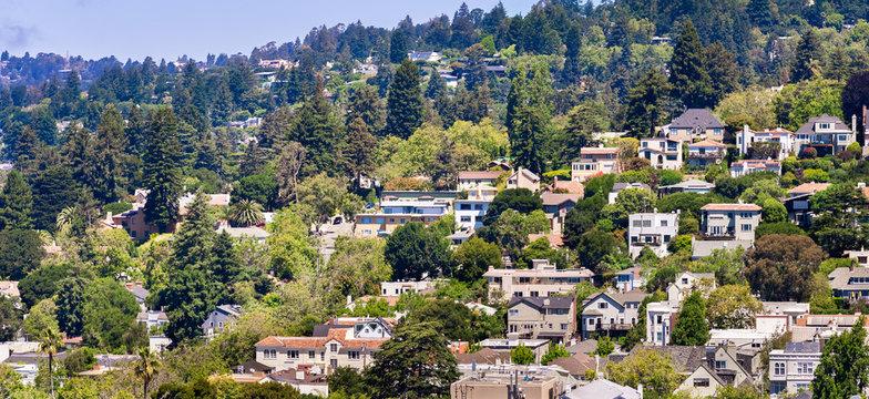 Aerial view of residential neighborhood built on a hill, Berkeley, San Francisco bay, California;