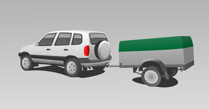 Vector SUV With Trailer.