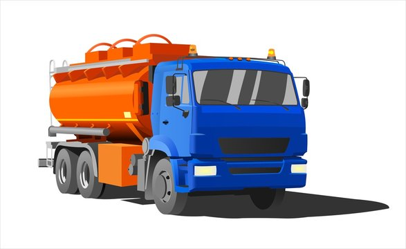 Gasoline Tank Truck; Tanker; Fuel truck. Modern flat Vector illustration on white background.
