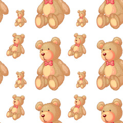 Seamless pattern tile cartoon with teddy bear