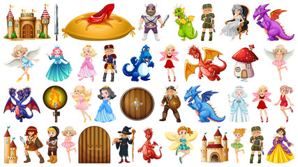Set of fantasy peopl and objects