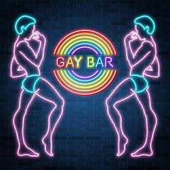 Gay bar neon banner, sexy guy figure, man silhouette, nightclub, rainbow, vector illustration