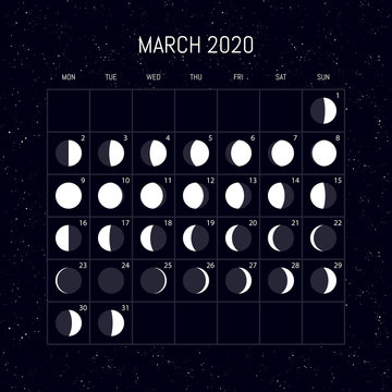 Moon phases calendar for 2020 year. March. Night background design. Vector illustration