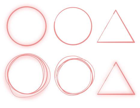 丸 円 三角 筆 手描き 素材 ピンク