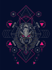 Mecha anubis heal lgoo illustration with sacred geometry pattern as the background