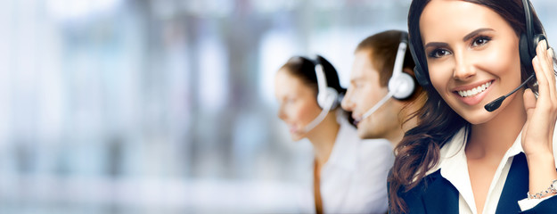 Call Center Service. Photo of customer support or sales agent. Group of callers or receptionist phone operators.