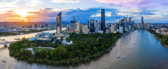 Panorama of Brisbane skyline at sunset