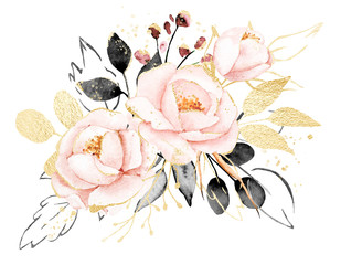 Watercolor flowers, floral bouquet with gold gray leaves and blush pink peonies. Perfectly for print on greeting card, wedding invitation, poster. Hand drawing. Composition isolated on white.