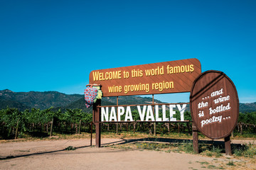 Welcome sign of Napa Valley, California