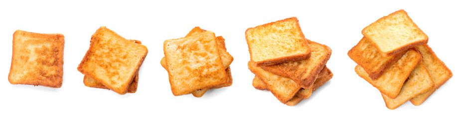 Tasty French toasts on white background Wall mural