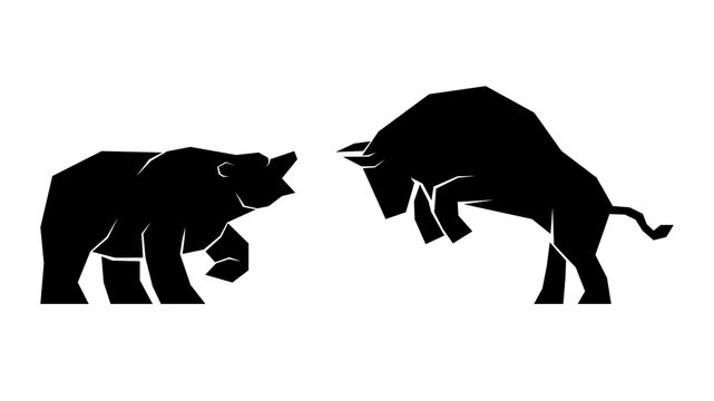 Vector illustration of confrontation between two market participants - bulls and bears