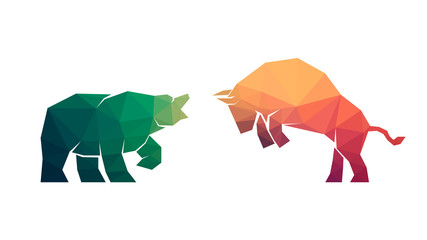 illustration of confrontation between two market participants - bulls and bears. Polygonal design. Vector, EPS 10