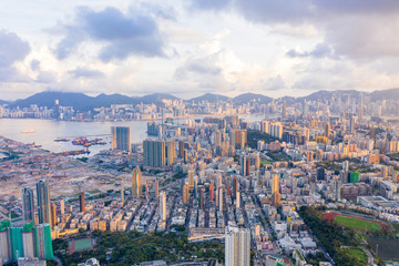 Wall Mural - Aerial view of cityscape of Kowloon, Hong Kong