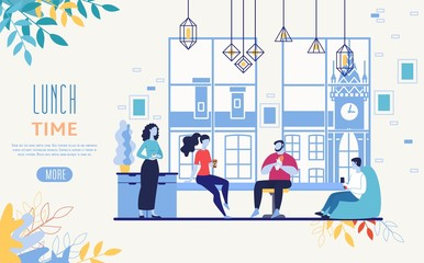 Office Food Delivery Service Vector Web Banner