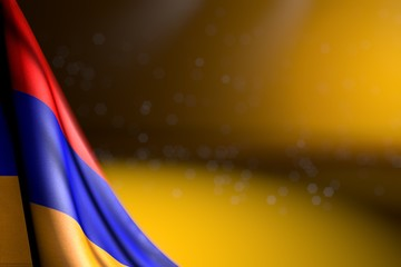 beautiful picture of Armenia flag hangs diagonal on yellow with soft focus and empty place for your text - any holiday flag 3d illustration..