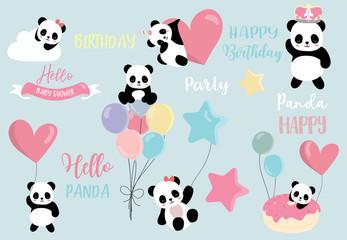 Pastel panda set with pandacorn,rainbow,balloon,heart illustration for sticker,postcad,birthday invitation