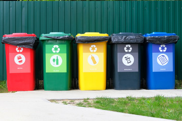 Separate garbage collection. Waste recycling concept. Containers for metal, glass, paper, organics, plastic for further processing of garbage. Wall mural