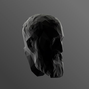 Zeno, Founder of Stoicism in Black and White. Dark Low Poly Vector Greyscale Silhouette 3D Rendering