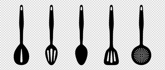 Kitchen Utensils - Vector Silhouette Set - Isolated On Transparent Background