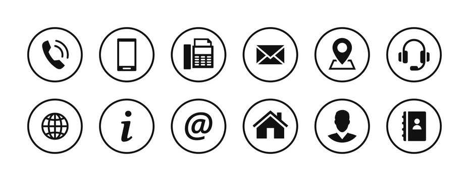 Set of contact icons in circles