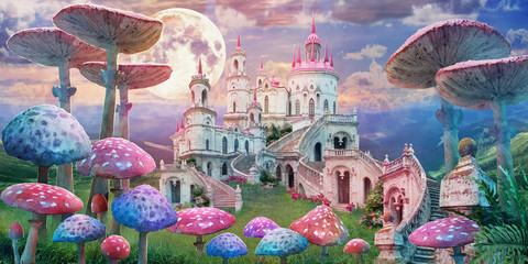 fantastic landscape with mushrooms. illustration to the fairy tale