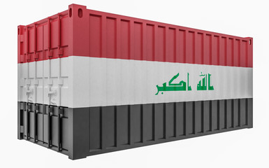 3D Illustration of Cargo Container with Iraq Flag
